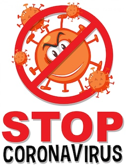 Stop het coronavirus-prohitbit-bord met het coronavirus-stripfiguur