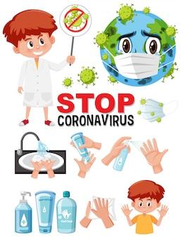 Stop het coronavirus-tekstbord met de hand met behulp van ontsmettingsproducten