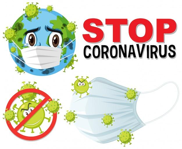 Stop het coronavirus-tekstbord met het coronavirus-thema