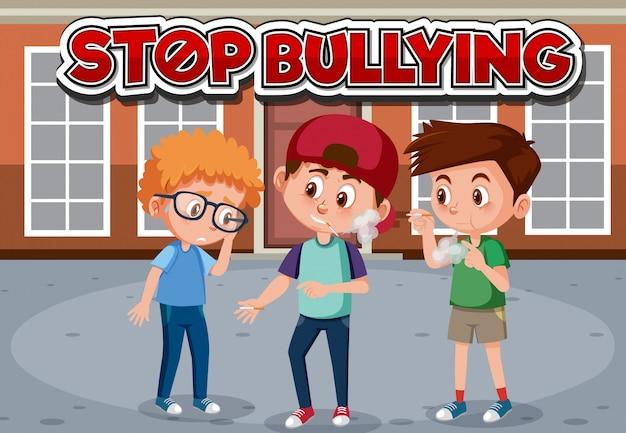 Stop het lettertypeontwerp voor huiselijk geweld met rokende jongens