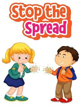 Stop het spread-lettertype met twee kinderen, houd geen sociale afstand geïsoleerd op een witte achtergrond