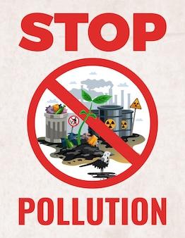 Stop het teken van vervuiling