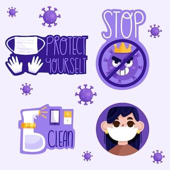 Stop het virus en bescherm jezelf badge set