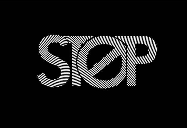 Stop kalligrafische lijnwerk tekst winkelen poster vector illustratie ontwerp.