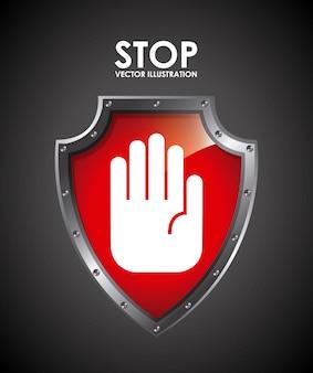 Stop label over zwarte achtergrond vectorillustratie
