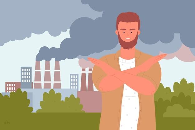 Stop luchtvervuiling ecologie probleem vrijwilliger toont stop gebaar met gekruiste armen