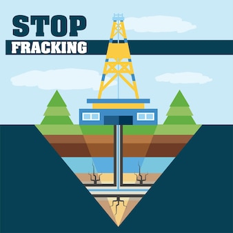 Stop met fracking olie-industrie extractie en productie illustratie