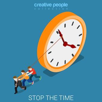 Stop met het vertragen van de tijd die hard overuren werkt, plat isometrisch