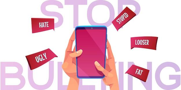 Stop met pesten cartoon banner handen met smartphone met vervelende namen die uit het scherm vliegen
