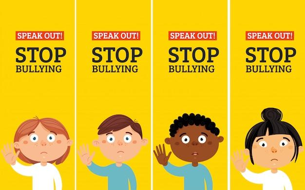 Stop met pesten stickers. sociale problemen van de mensheid-24