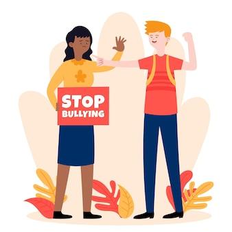 Stop met pesten terwijl mensen protesteren