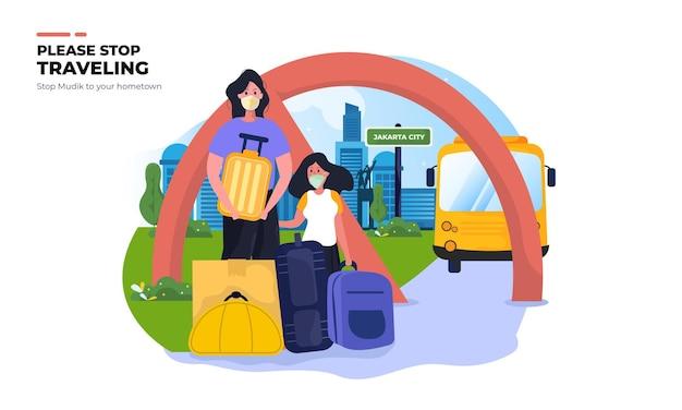 Stop met reizen of mudik naar de geboorteplaats tijdens het pandemische illustratieconcept Premium Vector