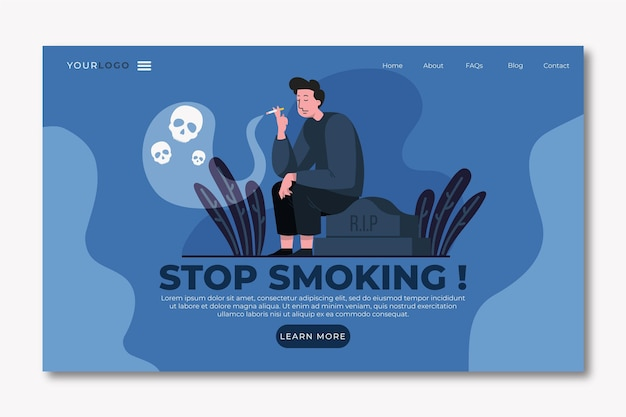 Stop met roken bestemmingspagina-sjabloon met man