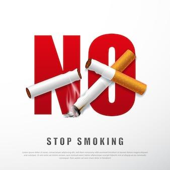 Stop met roken campagne illustratie geen sigaret voor gezondheid gebroken sigaretten en as