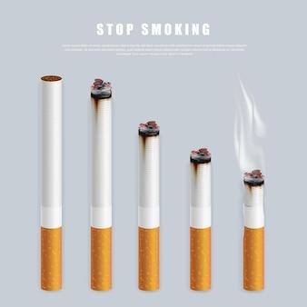 Stop met roken campagne illustratie geen sigaret voor gezondheidssigaretten in verschillende hoogtes