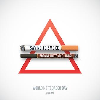 Stop met roken concept met realistische witte en donkere sigaretten.