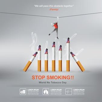 Stop met roken concept werelddag zonder tabak