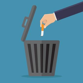 Stop met roken, gooi sigaretten in de prullenbak