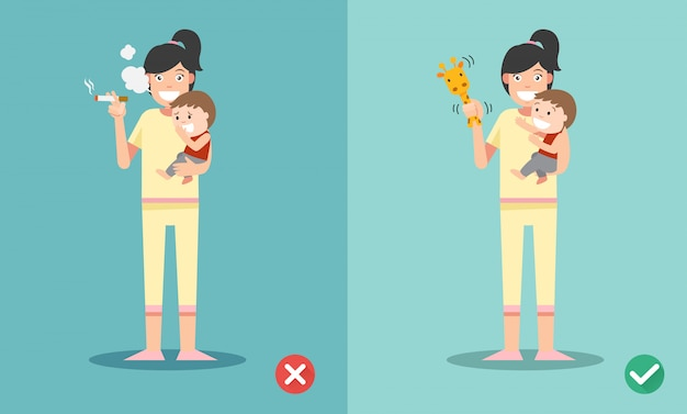 Stop met roken voor kinderen, verkeerd en goed voor niet roken