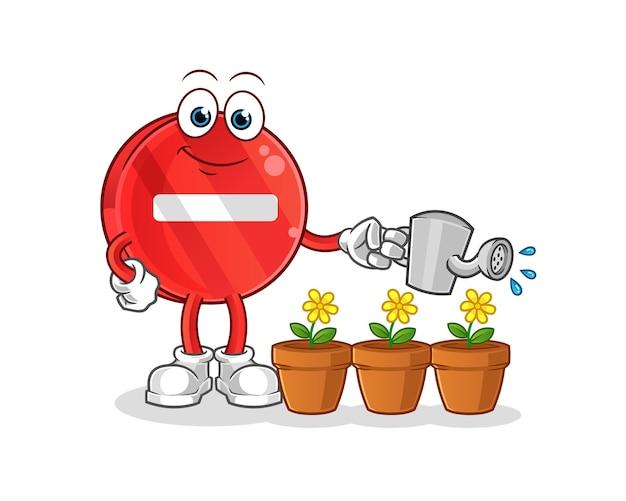 Stop met teken dat de bloemenmascotte water geeft