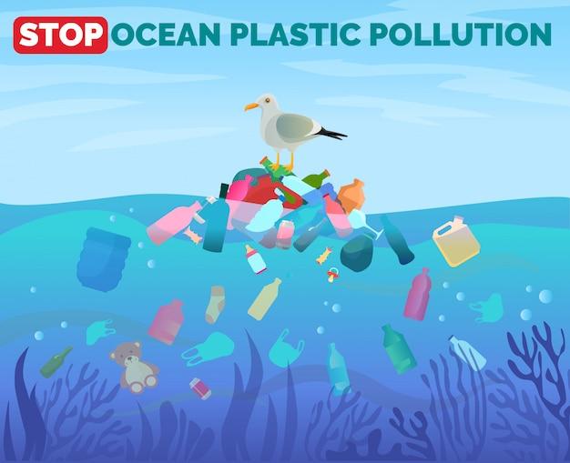 Stop oceaan plastic vervuiling poster met stapel vuilnis in water