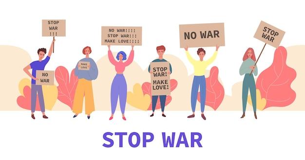 Stop oorlogsdemonstratiebanner jonge tekenfilmmensen met protestborden
