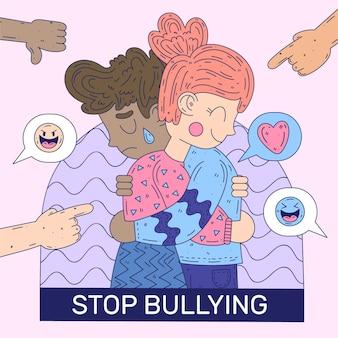 Stop pesten illustratieontwerp