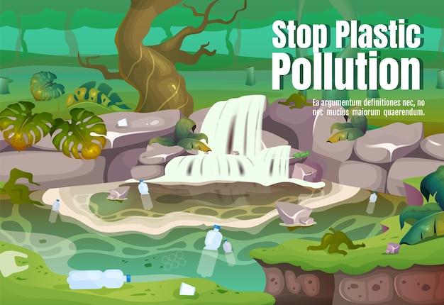 Stop plastic vervuiling poster platte sjabloon. verontreiniging in water. vervuild tropisch woud. brochure, boekje conceptontwerp van één pagina met stripfiguren. jungle flyer, folder