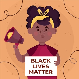 Stop racisme concept meisje met megafoon
