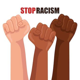 Stop racisme, met de handen in de vuist, het concept van zwarte levens is van belang