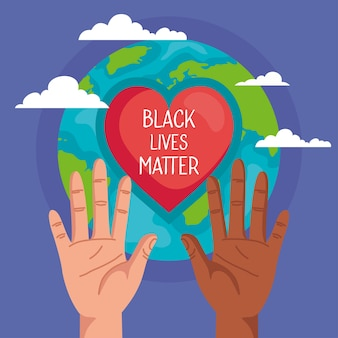 Stop racisme, met handen, hart en wereldplaneet, het concept van zwarte levens is van belang