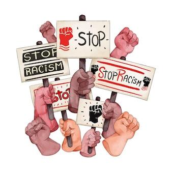 Stop racisme plakkaten discriminatie concept