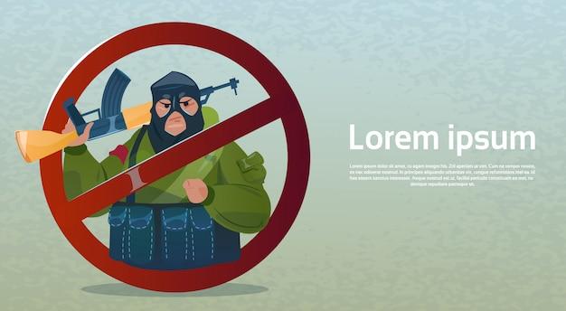 Stop terrorisme gewapende terroristische groep zwart masker houd wapen machinegeweer