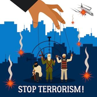 Stop terrorisme illustratie