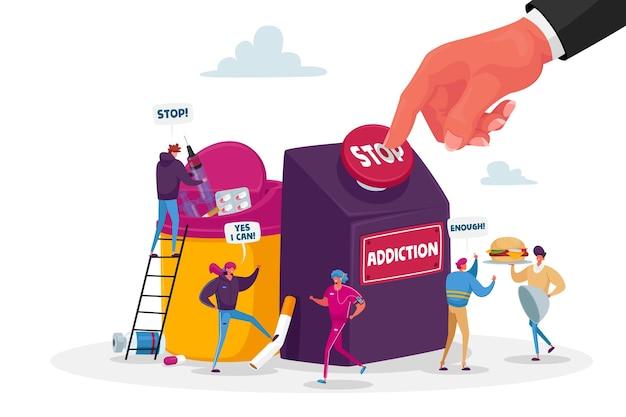 Stop verslaving, gezond leven concept. personages stoppen met roken, drugs en ongezond eten