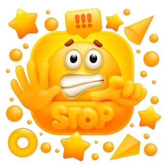 Stop websticker. geel emoji-teken in cartoon-stijl.