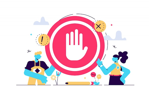 Stopbord illustratie. plat klein verbod geen gebaar persoon concept. symbolische waarschuwing, gevaar of veiligheidsinformatie. verboden toegang of beperkt gebiedsverbod of geblokkeerde wegwaarschuwing.