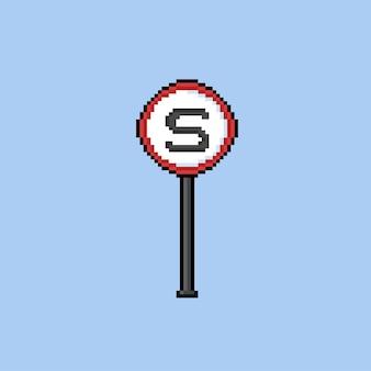 Stopbord met pixelkunststijl