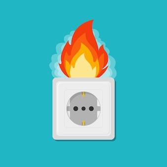 Stopcontact in brand. elektrisch circuit onderbroken. vlam stekker. vectorillustratie eps 10
