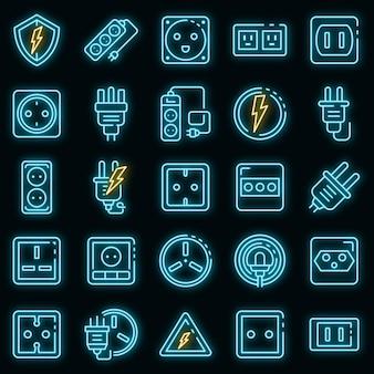 Stopcontact pictogrammen instellen. overzicht set van stopcontact vector iconen neon kleur op zwart
