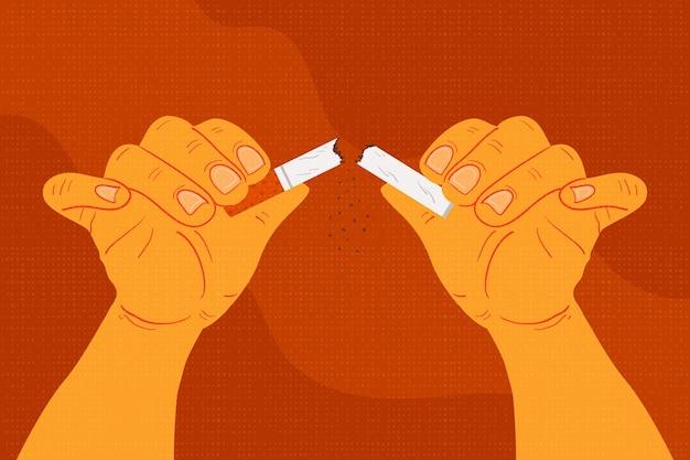 Stoppen met roken concept gebroken sigaret