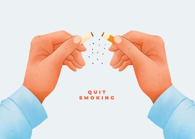 Stoppen met roken concept met gebroken sigaret