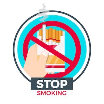 Stoppen met roken pakje sigaretten sjabloon