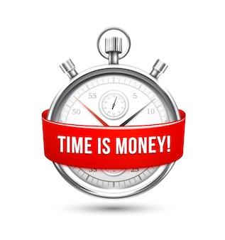 Stopwatch met rood lint waarin staat dat de tijd is de illustratie van het geldconcept