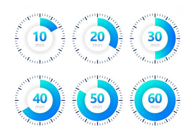 Stopwatchpictogram, digitale timer. klok en horloge, timer, aftelsymbool. illustratie