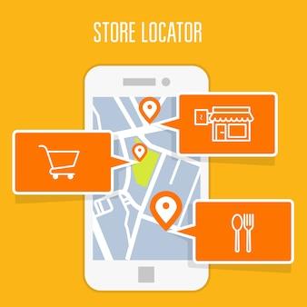 Store locator tracker-app en mobiele gps-navigatie