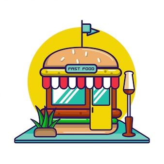 Storefront vector gedetailleerd plat ontwerp