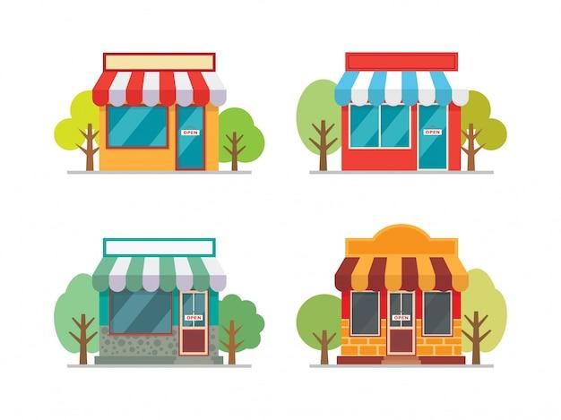 Storefrontvoorgevel die vectorillustratie bouwen