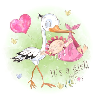 Stork draagt een bundel met een meisje.