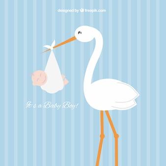 Stork met een baby boy